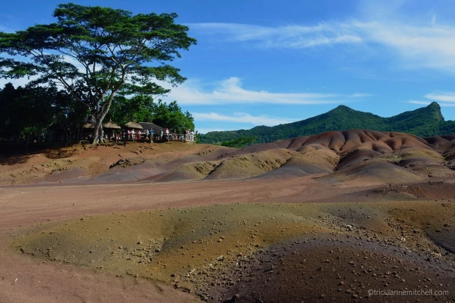 The multicolored sand dunes of the Chamarel Seven Colored Earths in Mauritius.