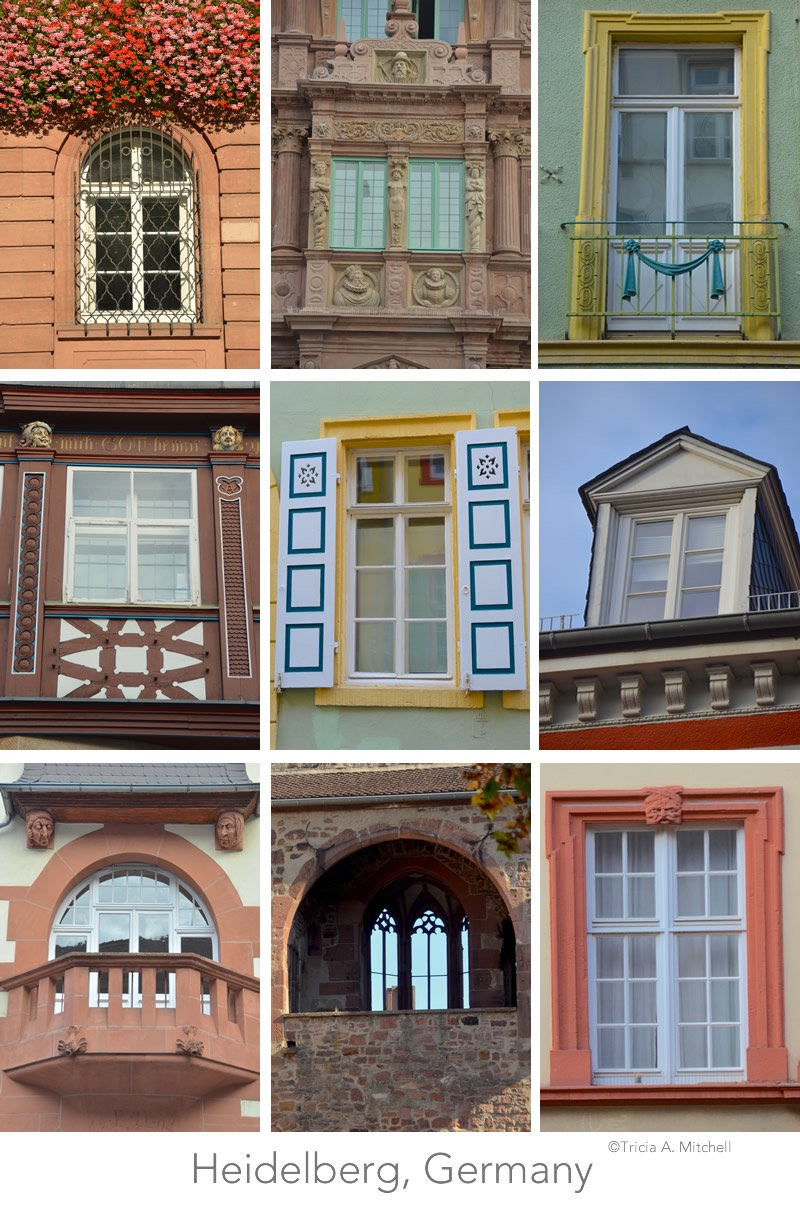 A collage showcases 9 decorative windows in the Altstadt (or Old Town) of Heidelberg, Germany