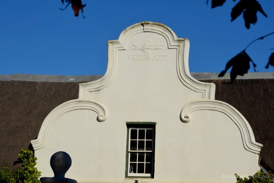 A building's gable in the Dutch Cape architectural style at the Vergenoegd Winery near Stellenbosch, South Africa.