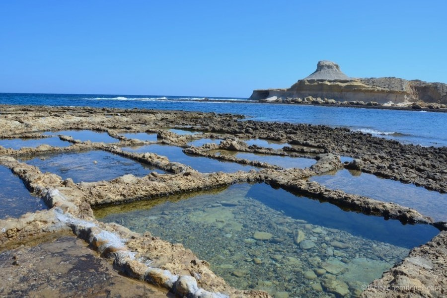 Salt pans filled with water on Gozo's northern coast.