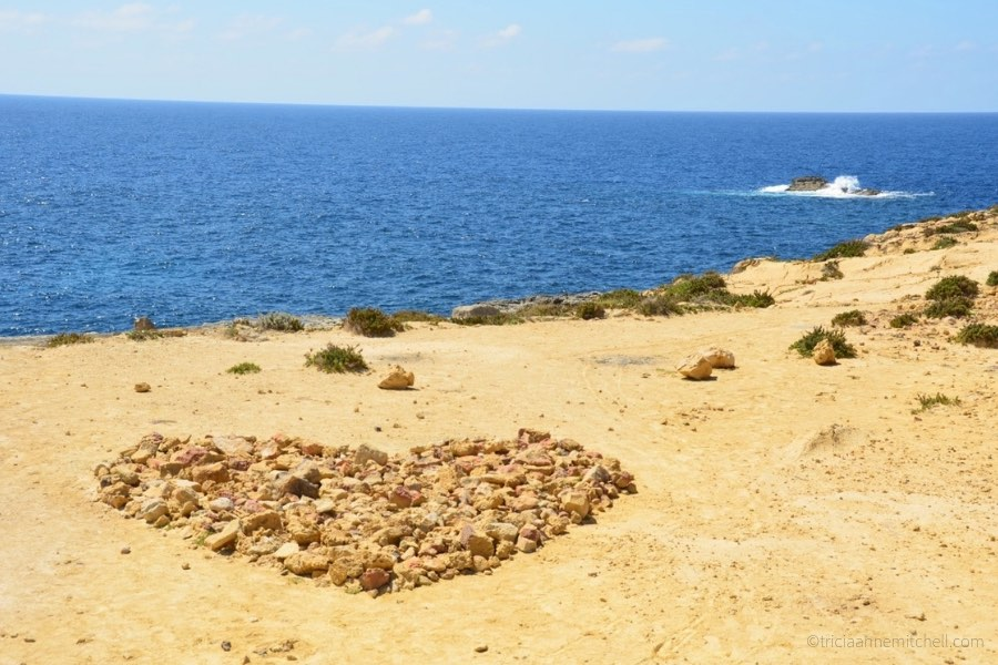 A stone heart decorates the coast near Malta's Azure Window, on the island of Gozo.