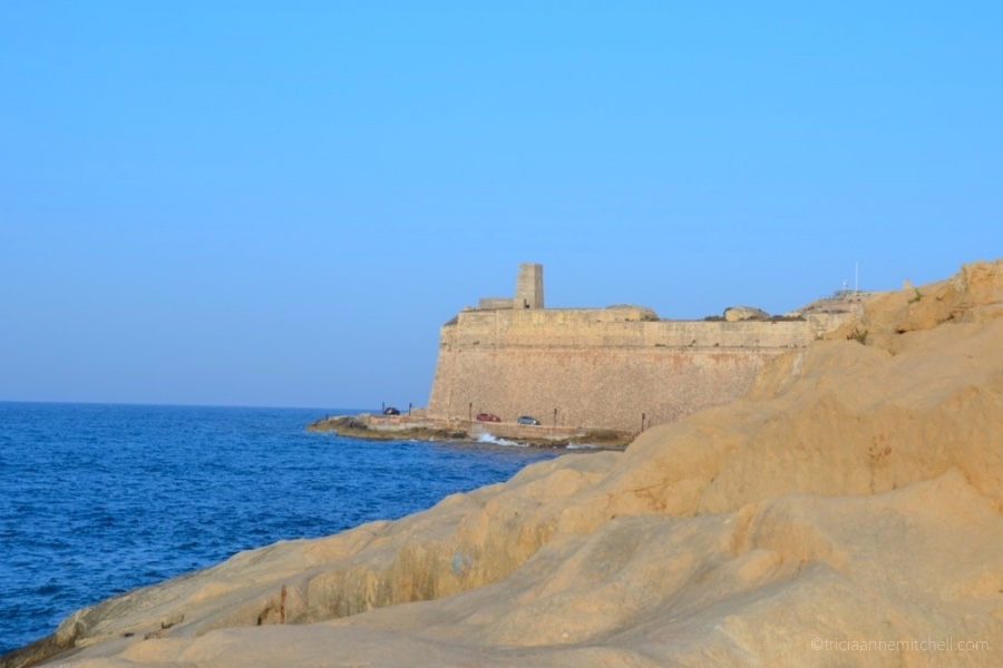 Valletta's fortifications, as seen from the sea.