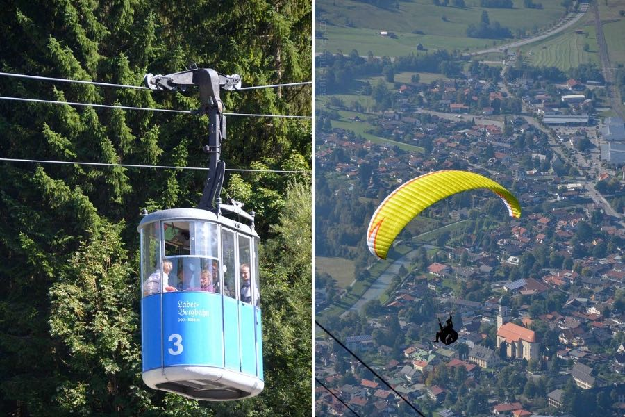 Two pictures taken from the top of the Laber Mountain in Oberammergau, Germany. On the left is a close-up of the Laber Cable Car. It is blue and several passengers are visible inside. In the photo on the right, the silhouette of a paraglider using a yellow chute is visible. He is flying over the rooftops of Oberammergau, Germany. The town's church is visible below.
