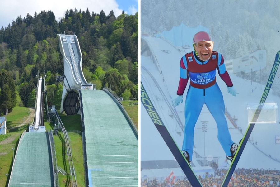 The Garmisch-Partenkirchen Olympic Ski Jump, on a summer day, surrounded by green trees and grass.