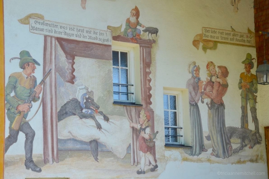 A close-up of the mural from Oberammergau's