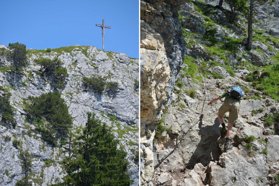 These are two photos taken while climbing the Kofel Mountain in Oberammergau, Germany. On the left is the summit of the Kofel. There is a wooden cross marking the summit, and a sheer rock face is visible. On the right, a man climbs up the mountain, holding on to a metal cable with his left hand.