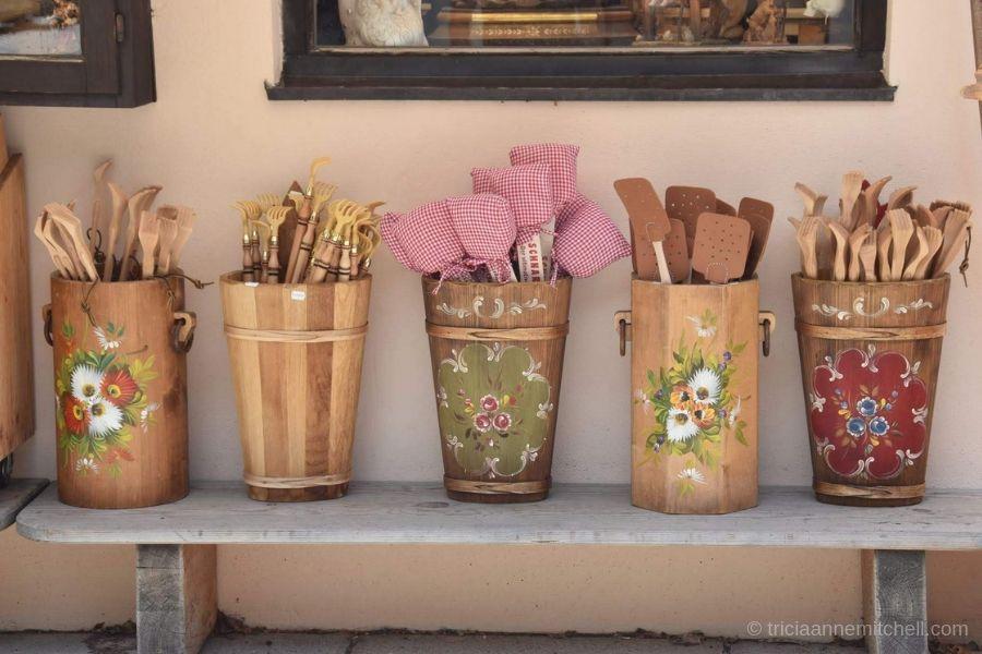 Wooden souvenirs for sale at an Oberammergau, Germany souvenir shop.