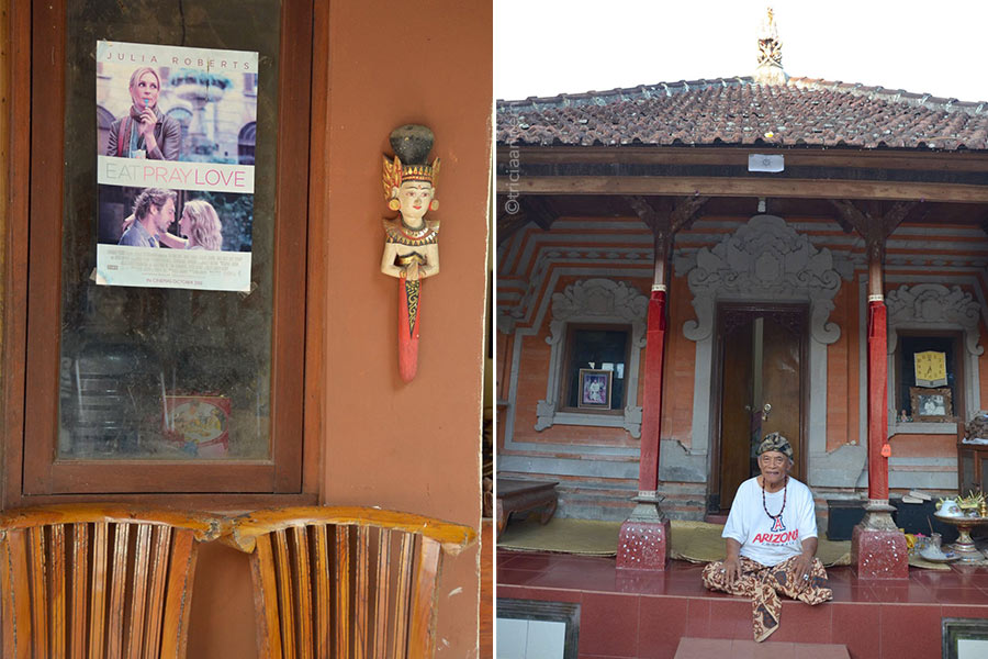 Eat Pray Love poster hanging on window of Ketut Liyer's home in Ubud, Bali