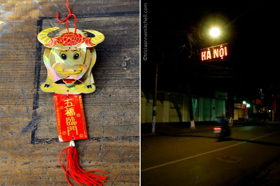 A red and gold Vietnamese ox paper ornament, for the Vietnamese Lunar New Year celebrations (left) and aperson rides a motorbike on a street in Ha Noi, Vietnam, at night (right).