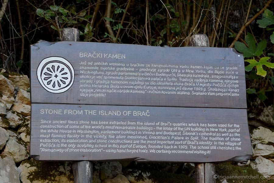 Informational sign talking about the importance of stone on the Croatian island of Brac.