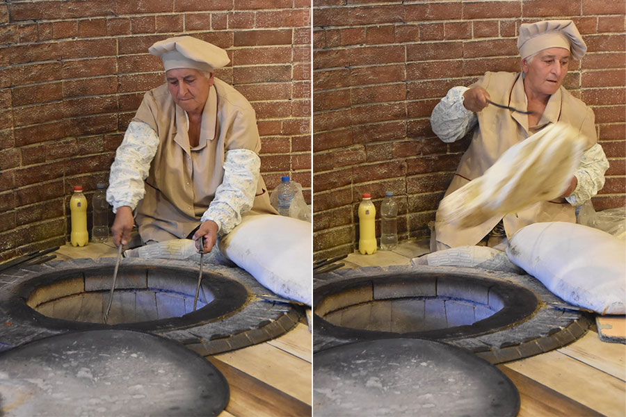 Using tongs, a woman removes baked lavash flatbread from a tonir oven (left). On the right, a woman removes cooked lavash from an oven and places it in a pile of cooked bread.