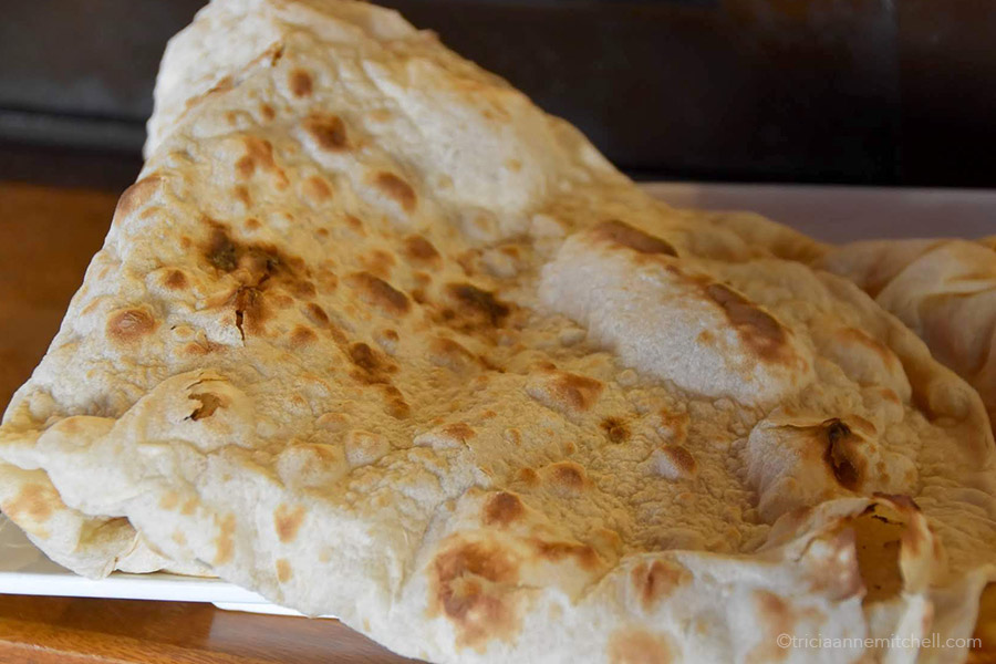 Close-up of Armenian lavash flatbread.
