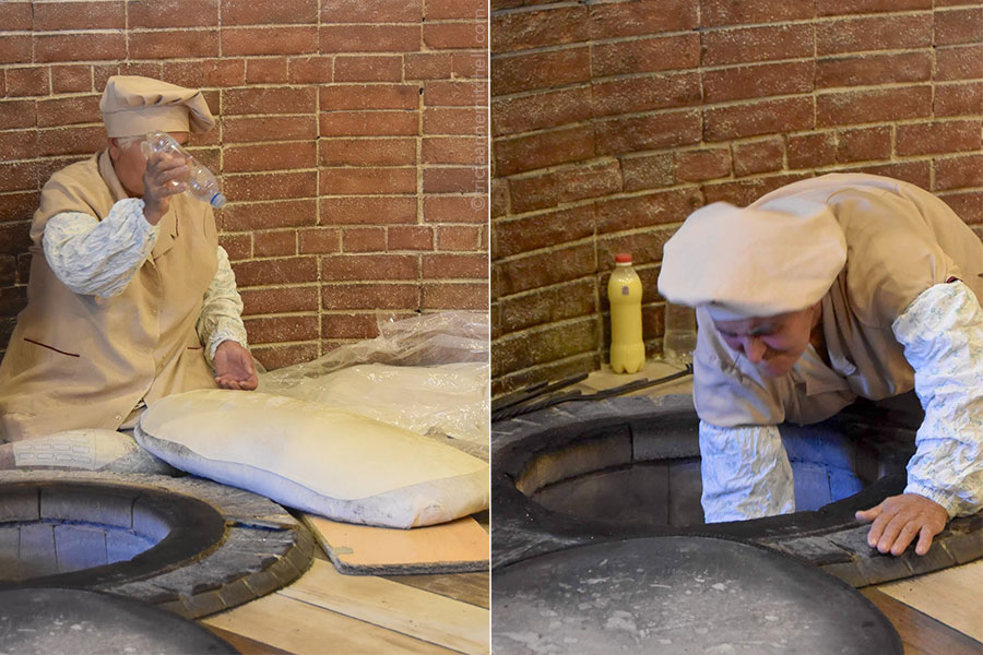 A baker sprays liquid onto rolled-out lavash flatbread dough (left). A woman slaps dough onto the walls of a below-ground oven (right).