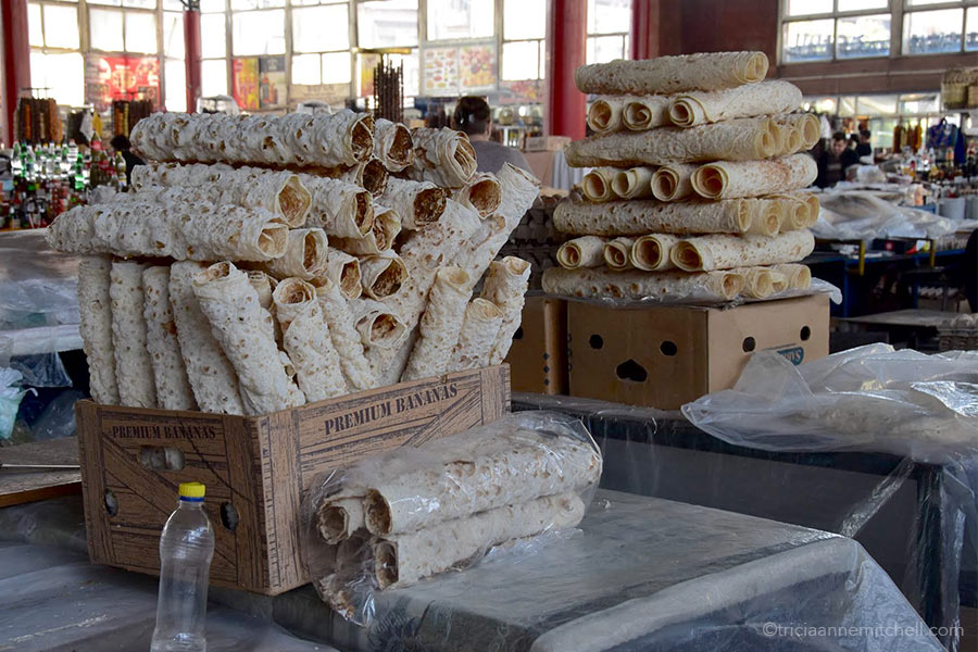 Tubes of lavash fill a box in an Armenian market in Yerevan.