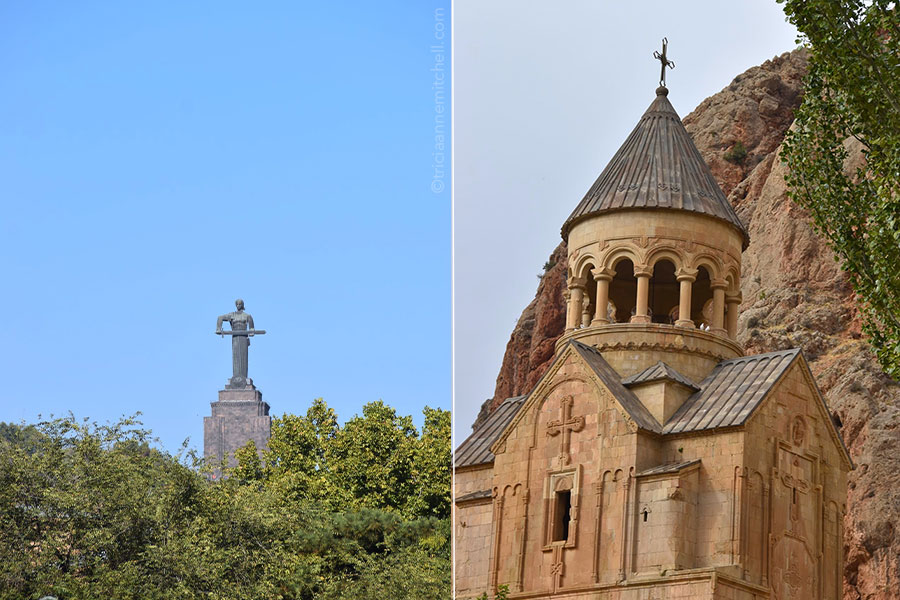 Armenia's Mother of Armenia monument (left) and the Noravank Monastery exterior (right).