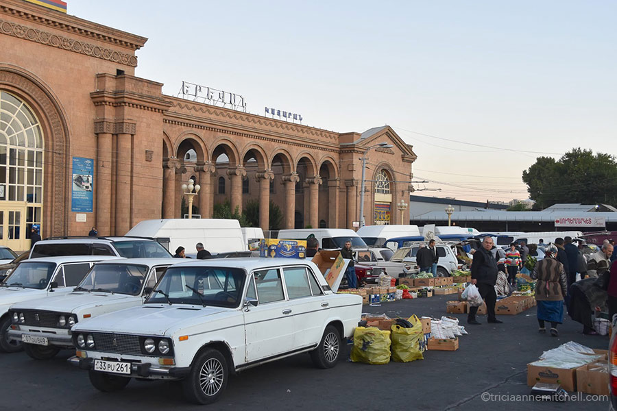 An impromptu produce market in front o the Yerevan Train Station in Armenia.