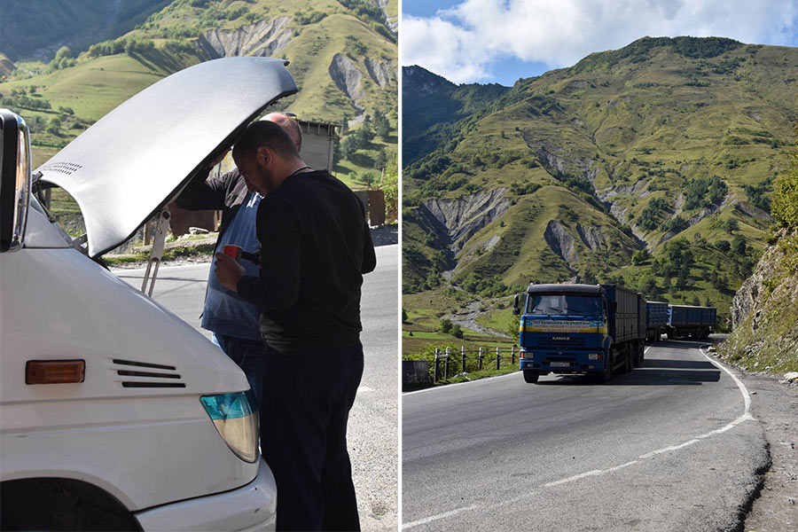 Men repairing a white van look under its hood (left). Several trucks climb a curvy, mountainous road on Georgia's Military Highway (right).