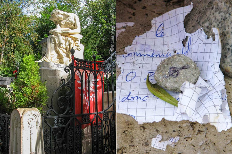 Frederic Chopin's grave in the Pere Lachaise Cemetery in paris features a white statue of a seated woman hunched over in grief. It is bordered by a black iron gate. A red Polish flag is draped over the gate.