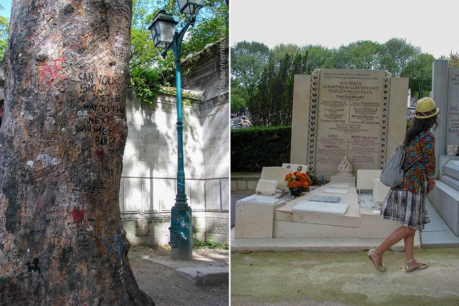 """Left: Near Jim Morrison's grave in Paris' Pere Lachaise Cemetery grows a tree whose trunk contains grafitti from fans. Right: A woman walks past a grave dedicated to Resistance heroes. The text reads """"Aux heros et martyrs de la Resistance fusilles par les Nazis."""""""