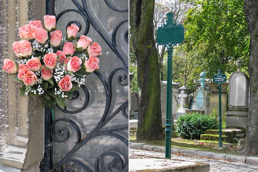 Left: A bouquet of pink artificial roses is stuffed into an iron gate to a mausoleum door. Right: Headstones and two green street signs on a street in Pere Lachaise Cemetery