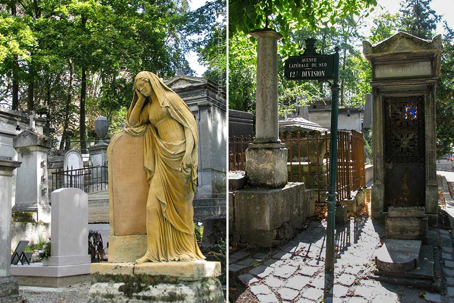 """Headphones at Pere Lachaise Cemetery in Paris. On the left is a figure of a woman resting her head and shoulder on a headstone. On the right is a small mausoleum, with a sign that reads"""" Avenue Latérale du sud, 12th Division"""""""