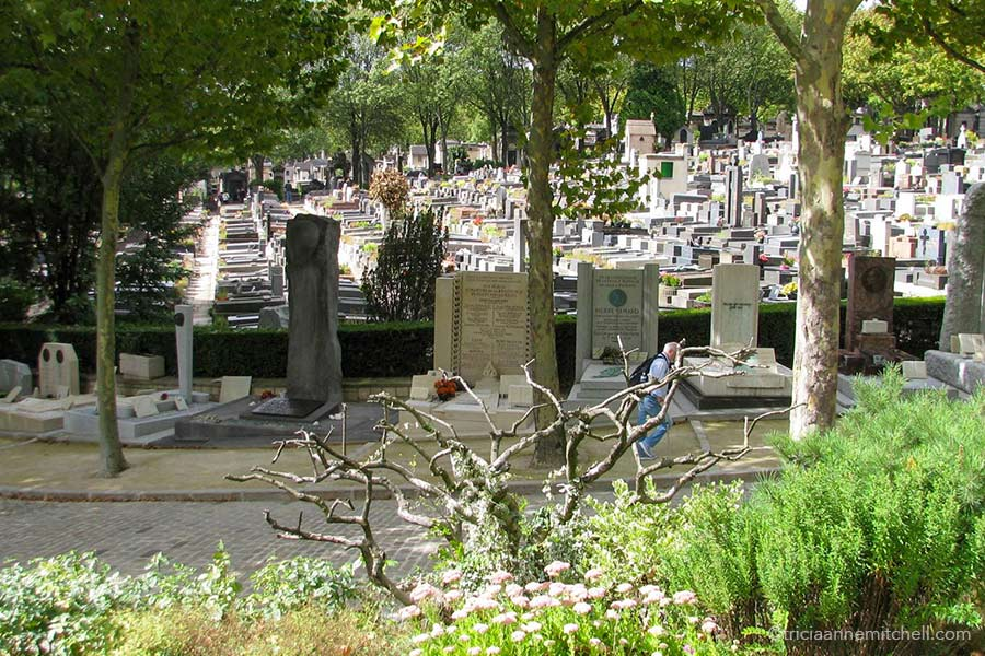 A man walks on a street in Paris' Pere Lachaise Cemetery. He is surrounded by trees and there are hundreds of headstones in the background.