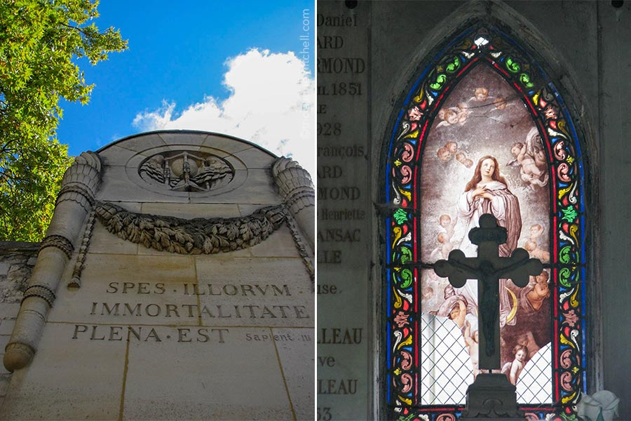 """Left: Detail of the entrance of Père Lachaise Cemetery. The Latin text reads """"Spes illorum. Immortalitate Plena Est."""" Right: The interior of a family mausoleum features a silhouetted cross with a stained glass background."""